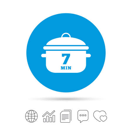 Boil 7 minutes. Cooking pan sign icon. Stew food symbol. Copy files, chat speech bubble and chart web icons. Vector Illustration