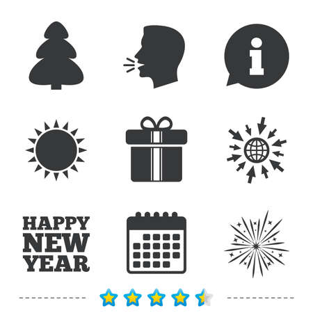 Happy new year icon. Christmas tree and gift box signs. Fireworks explosive symbol. Information, go to web and calendar icons. Sun and loud speak symbol. Vector