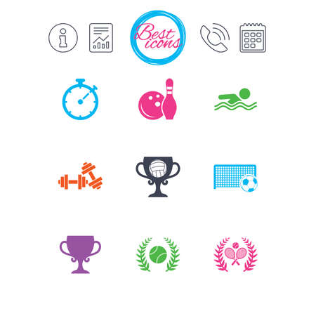 Information, report and calendar signs. Sport games, fitness icons. Football, tennis and volleyball signs. Swimming, timer and bowling symbols. Classic simple flat web icons. Vector Illustration