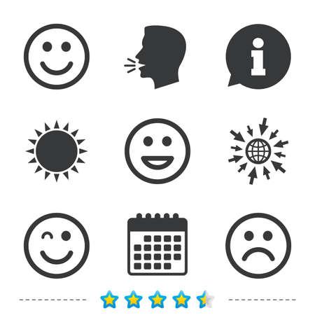 笑顔のアイコン。幸せな、悲しいとウインク顔記号。笑スマイリー サインを笑っています。については、web とカレンダーのアイコンに移動します。  イラスト・ベクター素材