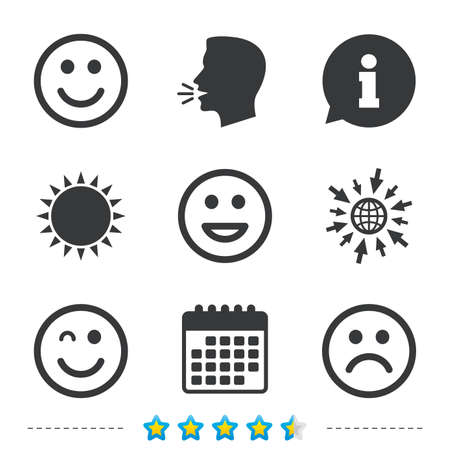 Smile icons. Happy, sad and wink faces symbol. Laughing lol smiley signs. Information, go to web and calendar icons. Sun and loud speak symbol. Vector Illustration