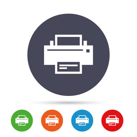 Print sign icon. Printing symbol. Print button. Round colourful buttons with flat icons. Vector