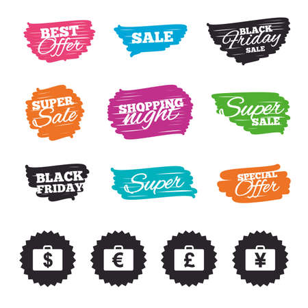 Ink brush sale banners and stripes. Businessman case icons. Cash money diplomat signs. Dollar, euro and pound symbols. Special offer. Ink stroke. Vector Иллюстрация