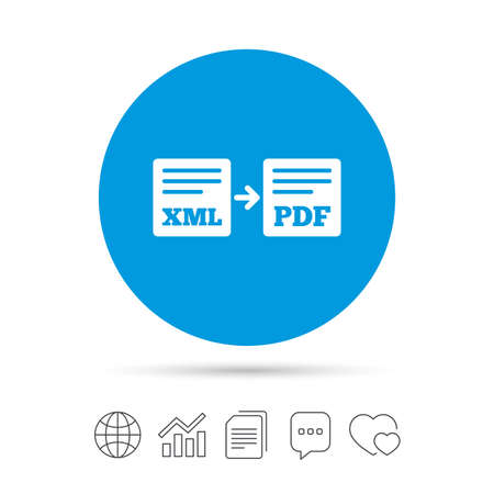 Export XML to PDF icon. File document symbol. Copy files, chat speech bubble and chart web icons. Vector Illustration