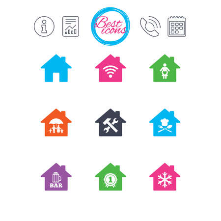 Information, report and calendar signs. Real estate icons. Home insurance, maternity hospital and wifi internet signs. Restaurant, service and air conditioning symbols. Classic simple flat web icons