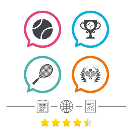 star award: Tennis ball and rackets icons. Winner cup sign. Sport laurel wreath winner award symbol. Calendar, internet globe and report linear icons. Star vote ranking. Vector