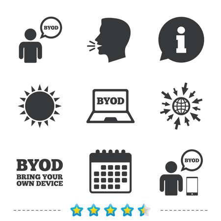 BYOD アイコン。ノート パソコンとスマート フォンの兆候と人間。音声バブルの象徴。については、web とカレンダーのアイコンに移動します。太陽し  イラスト・ベクター素材
