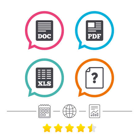 File document and question icons. XLS, PDF and DOC file symbols. Download or save doc signs. Calendar, internet globe and report linear icons. Star vote ranking. Vector Çizim