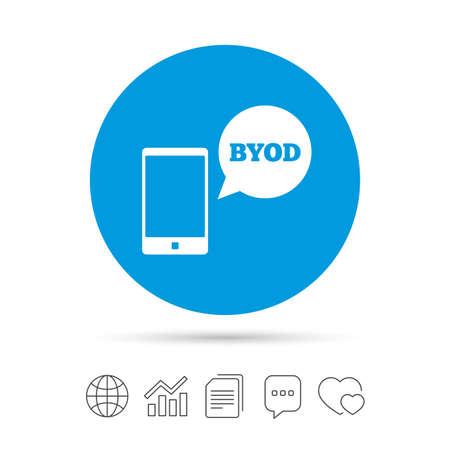 BYOD 記号アイコン。独自のデバイスのシンボルをもたらします。音声バブル記号のスマート フォン。ファイルのコピー、音声バブルとグラフ web アイ  イラスト・ベクター素材