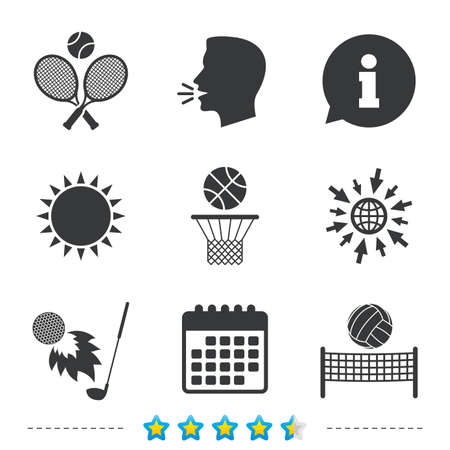 Tennis rackets with ball. Basketball basket. Volleyball net with ball. Golf fireball sign. Sport icons. Information, go to web and calendar icons. Sun and loud speak symbol. Vector