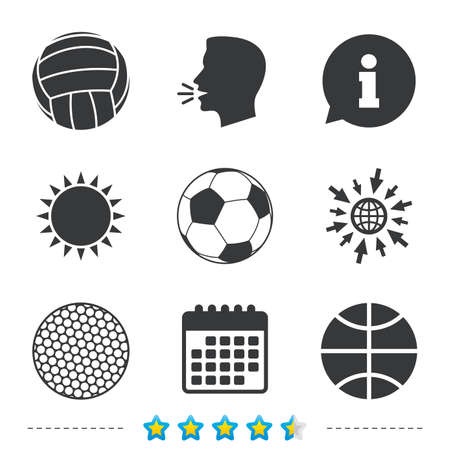 soccer goal: Sport balls icons. Volleyball, Basketball, Soccer and Golf signs. Team sport games. Information, go to web and calendar icons. Sun and loud speak symbol. Vector Illustration