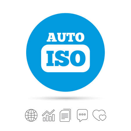 ISO Auto photo camera sign icon. Settings symbol. Copy files, chat speech bubble and chart web icons. Vector