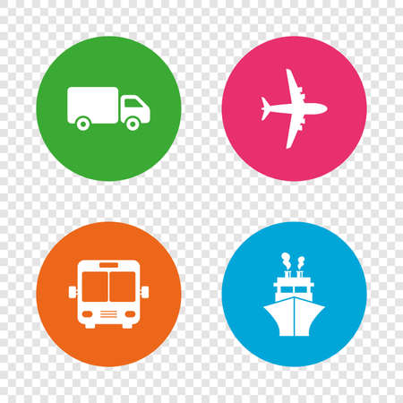 Transport icons. Truck, Airplane, Public bus and Ship signs. Shipping delivery symbol. Air mail delivery sign. Round buttons on transparent background. Vector Illustration