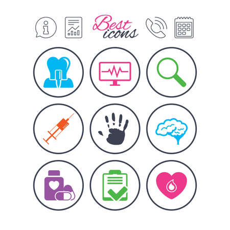 Information, report and calendar signs. Medicine, medical health and diagnosis icons. Blood, syringe injection and neurology signs. Tooth implant, magnifier symbols. Phone call symbol. Vector