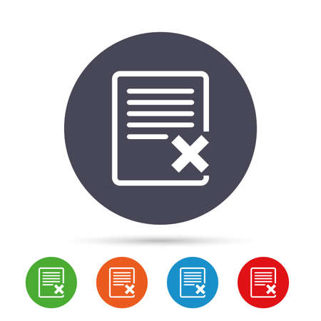 Delete file sign icon. Remove document symbol. Round colourful buttons with flat icons. Vector