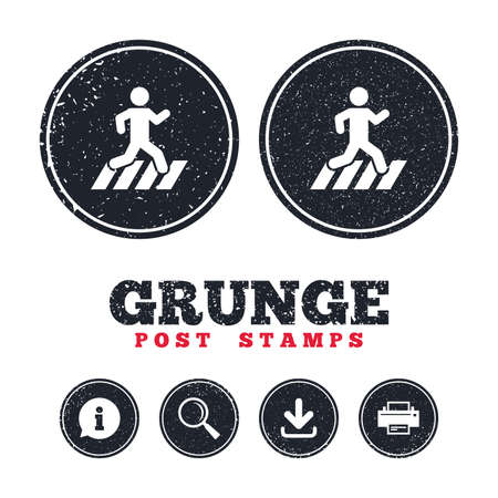 Grunge post stamps. Crosswalk icon. Crossing street sign. Information, download and printer signs. Aged texture web buttons. Vector Stock Vector - 79788959
