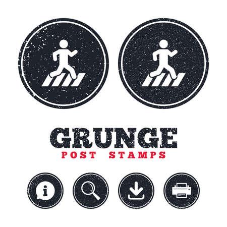 Grunge postzegels. Crosswalk-pictogram. Straatnaambord oversteken. Informatie, download en printerborden. Leeftijd textuur web knoppen. Vector
