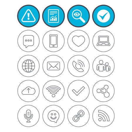 Report, check tick and attention signs. Communication icons. Smartphone, laptop and speech bubble symbols. Wi-fi and Rss. Online love dating, mail and globe thin outline signs. Vector