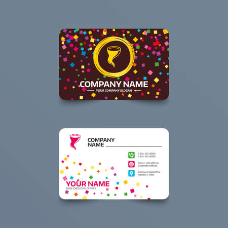 Business card template with confetti pieces. Storm sign icon. Gale hurricane symbol. Destruction and disaster from wind. Insurance symbol. Phone, web and location icons. Visiting card  Vector Illustration
