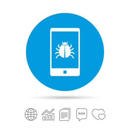 smartphone apps: Smartphone virus sign icon. Software bug symbol. Copy files, chat speech bubble and chart web icons. Vector