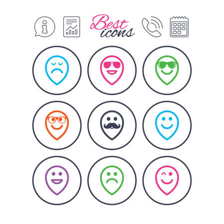 Information, report and calendar signs. Smile pointers icons. Happy, sad and wink faces signs. Sunglasses, mustache and laughing lol smiley symbols. Phone call symbol. Classic simple flat web icons Illustration