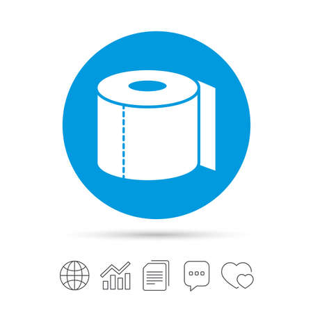 Toilet paper sign icon. WC roll symbol. Copy files, chat speech bubble and chart web icons. Vector Ilustração