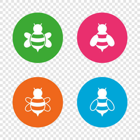Honey bees icons. Bumblebees symbols. Flying insects with sting signs. Round buttons on transparent background. Vector Illustration