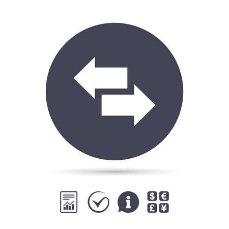 Incoming and outgoing calls sign. Upload. Download arrow symbol. Report document, information and check tick icons. Currency exchange. Vector