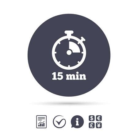 타이머 기호 아이콘입니다. 15 분 스톱 워치 기호. 보고서, 정보 및 틱 아이콘을 확인하십시오. 환전소. 벡터 일러스트
