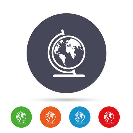 Globe sign icon. World map geography symbol. Globe on stand for studying. Round colourful buttons with flat icons. Vector Illustration