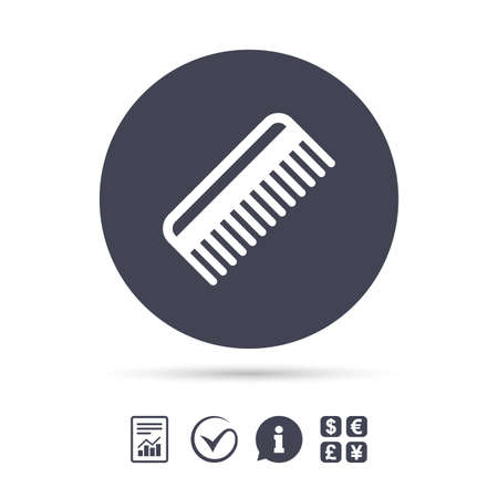 Comb hair sign icon. Barber symbol. Report document, information and check tick icons. Currency exchange. Vector