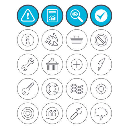 Report, check tick and attention signs. Universal icons. Information, shopping basket and shower. Repair tool, home key and brush. Comic speech bubble, target aim and quotes. Vector Illustration