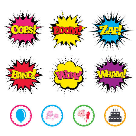 Comic Wow, Oops, Boom and Wham sound effects. Birthday party icons. Cake and gift box signs. Air balloon and fireworks symbol. Zap speech bubbles in pop art. Vector Illustration