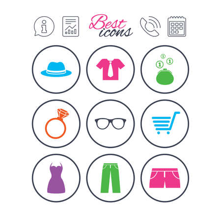 Information, report and calendar signs. Clothes, accessories icons. Shirt, glasses and hat signs. Wallet with cash coins symbols. Phone call symbol. Classic simple flat web icons. Vector Çizim