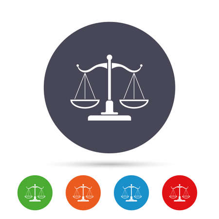 Scales of Justice sign icon. Court of law symbol. Round colourful buttons with flat icons. Vector