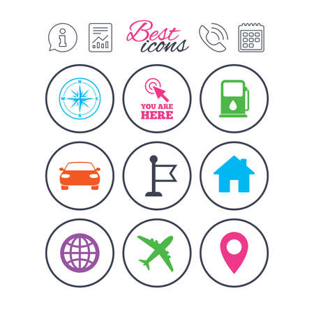 Information, report and calendar signs. Navigation, gps icons. Windrose, compass and map pointer signs. Car, airplane and flag symbols. Phone call symbol. Classic simple flat web icons. Vector
