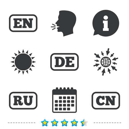 Sprache Symbole. EN, DE, RU und CN Übersetzungssymbole. Englisch, Deutsch, Russisch und Chinesisch. Informationen, gehen Sie zu Web- und Kalendersymbolen. Sonne und laut sprechen Symbol. Vektor Standard-Bild - 79789203