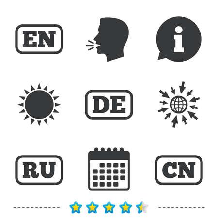 Taalpictogrammen. EN, DE, RU en GN-vertaalsymbolen. Engelse, Duitse, Russische en Chinese talen. Informatie, ga naar web- en kalenderpictogrammen. Zon en luid spreken symbool. Vector Stock Illustratie