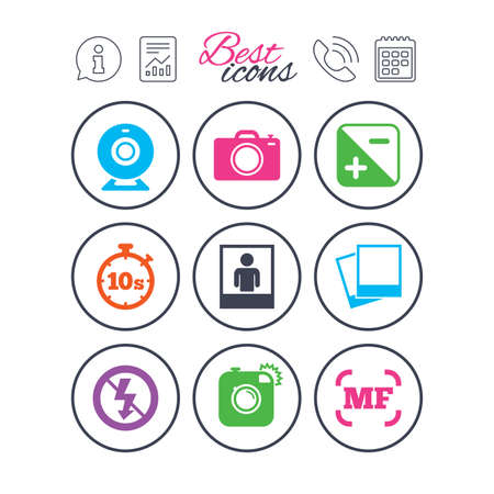Information, report and calendar signs. Photo, video icons. Web camera, photos and frame signs. No flash, timer and portrait symbols. Phone call symbol. Classic simple flat web icons. Vector Çizim