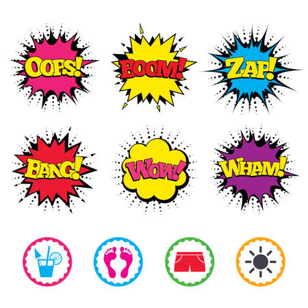 Comic Wow, Oops, Boom and Wham sound effects. Beach holidays icons. Cocktail, human footprints and swimming trunks signs. Summer sun symbol. Zap speech bubbles in pop art. Vector