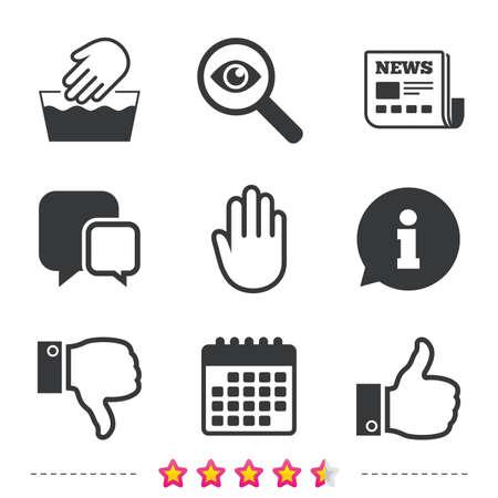 Hand pictogrammen. Vind en hou niet van duim omhoog symbolen. Niet in de machine wasbaar bord. Geen invoer stoppen. Krant, informatie en kalenderpictogrammen. Onderzoek vergrootglas, chat-symbool. Vector Stock Illustratie