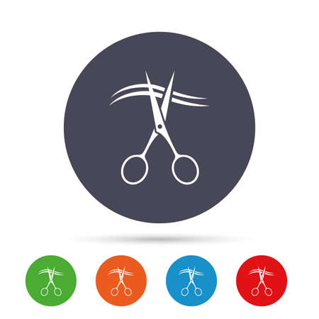 Scissors cut hair sign icon. Hairdresser or barbershop symbol. Round colourful buttons with flat icons. Vector Illustration