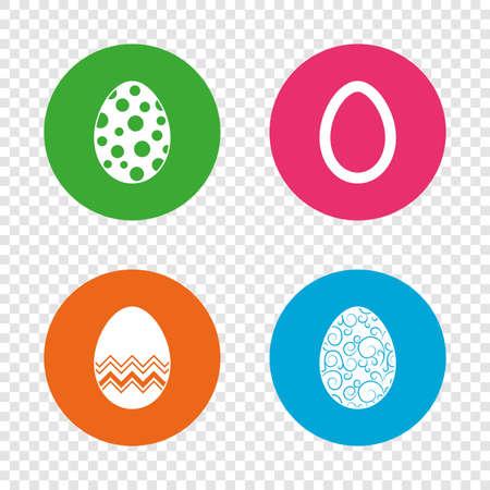 Paaseieren pictogrammen. Cirkels en bloemenpatronen symbolen. Tradities van tradities. Ronde knoppen op transparante achtergrond. Vector Stock Illustratie