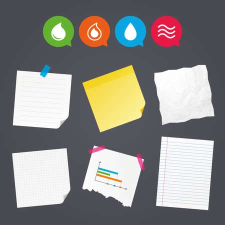 Business paper banners with notes. Water drop icons. Tear or Oil drop symbols. Sticky colorful tape. Speech bubbles with icons. Vector Ilustração