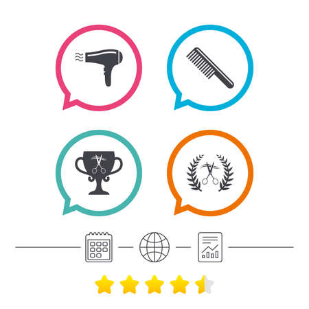 Hairdresser icons. Scissors cut hair symbol. Comb hair with hairdryer symbol. Barbershop laurel wreath winner award. Calendar, internet globe and report linear icons. Star vote ranking. Vector