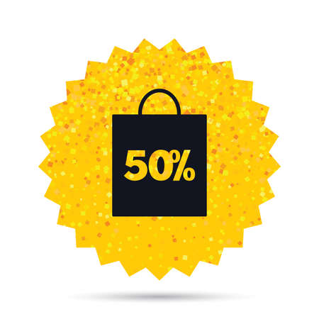 Gold glitter web button. 50% sale bag tag sign icon. Discount symbol. Special offer label. Rich glamour star design. Vector