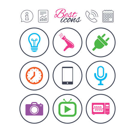 Information, report and calendar signs. Home appliances, device icons. Electronics signs. Lamp, electrical plug and photo camera symbols. Phone call symbol. Classic simple flat web icons. Vector