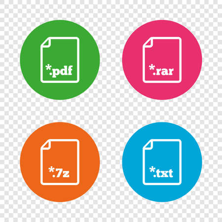Download document icons. File extensions symbols. PDF, RAR, 7z and TXT signs. Round buttons on transparent background. Vector Illustration