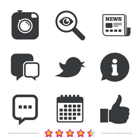 Hipster fotocamera pictogram. Vind ik leuk en Chat tekstballon teken. Hand duim omhoog. Vogel symbool. Krant, informatie en kalenderpictogrammen. Onderzoek vergrootglas, chat-symbool. Vector