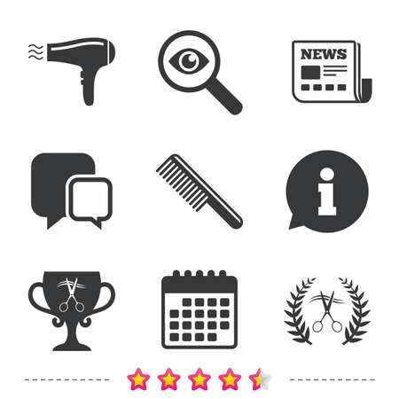 Hairdresser icons. Scissors cut hair symbol. Comb hair with hairdryer symbol. Barbershop laurel wreath winner award. Newspaper, information and calendar icons. Investigate magnifier, chat symbol Illustration